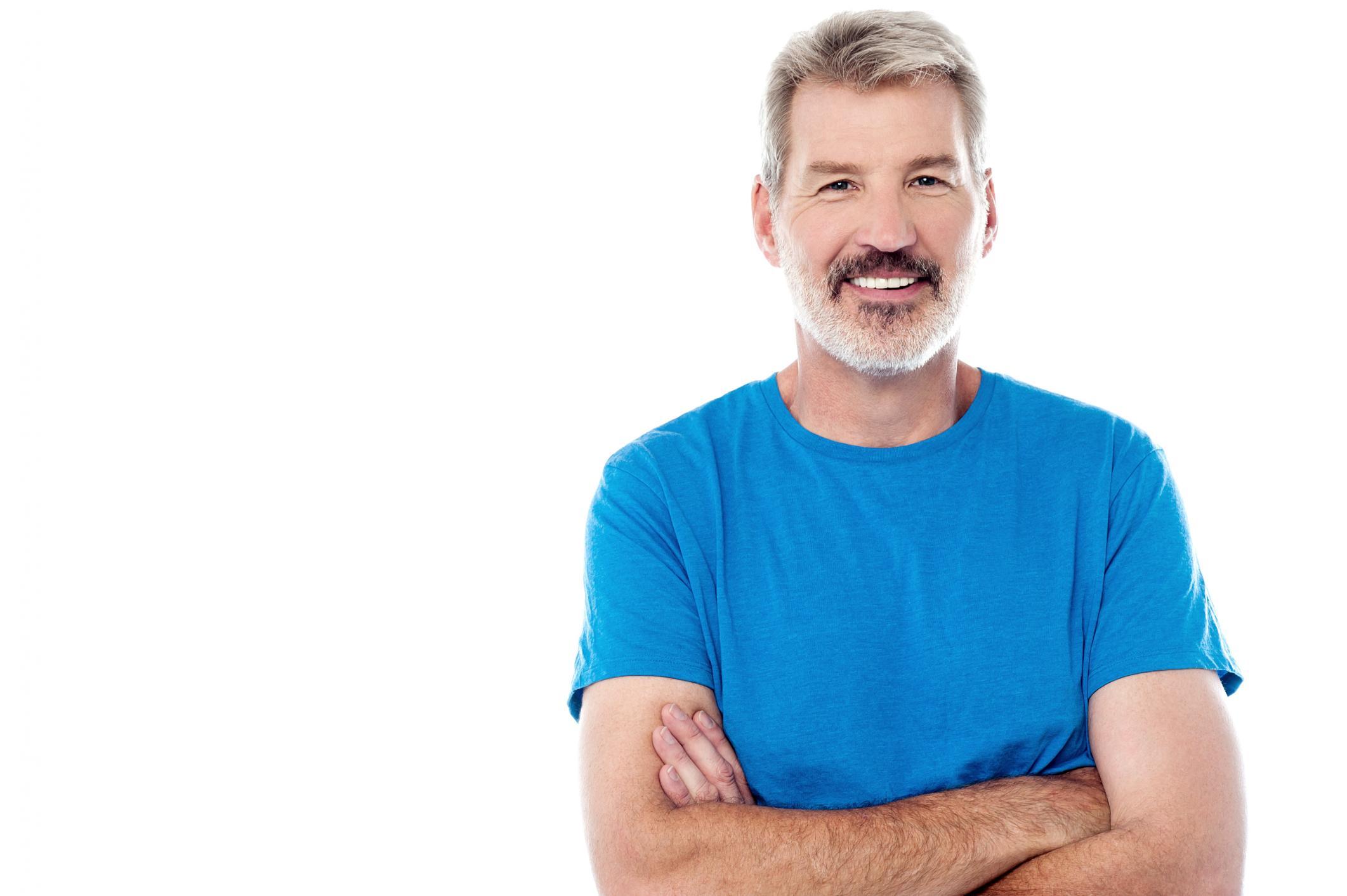 man wearing a blue shirt