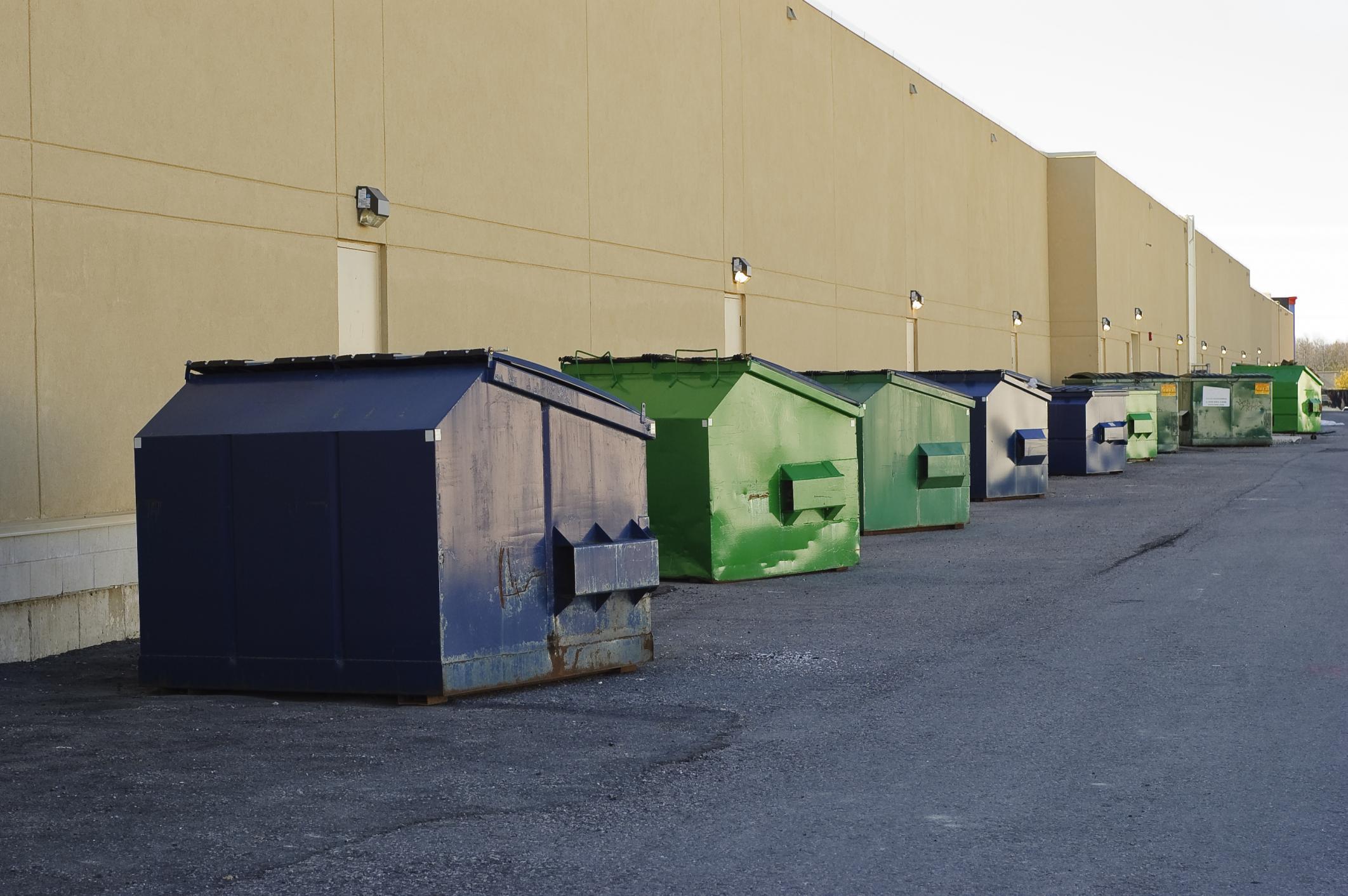 different colors off rental dumpster