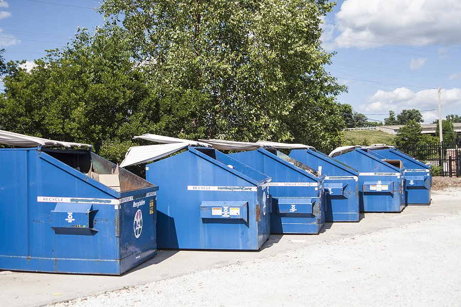 blue garbage recycling dumpster