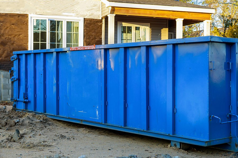 large blue garbage container